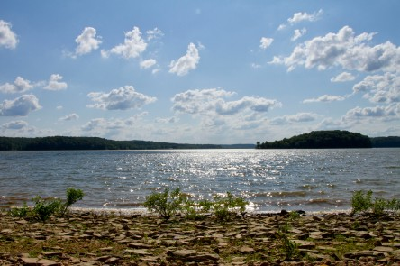 Looking west off of the Lake Monroe shoreline at the end of the Peninsula Trail.